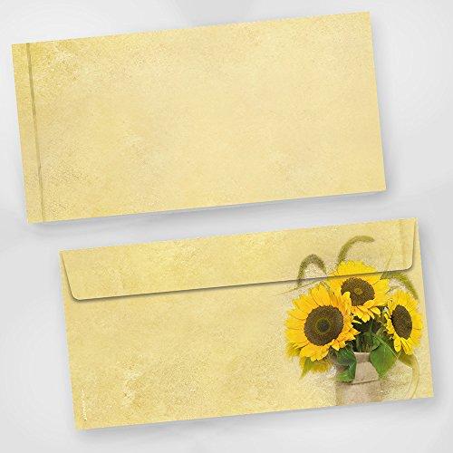 Briefumschläge Sonnenblumen (250 Stück) beidseitig bedruckte DIN lang Umschläge gelb