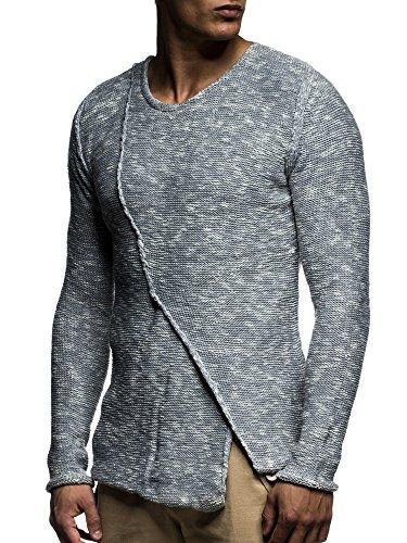 LEIF NELSON Herren Pullover Strickpullover Hoodie Basic Rundhals Crew Neck Sweatshirt langarm Sweater Feinstrick LN20710; Gr_¤e M, Grau