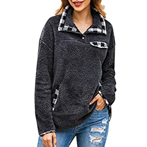 ❤️ AG&T ❤️ Frauen Plaid Flanell Patchwork Langarm Sweatshirt Pullover Shirt Tops Bluse