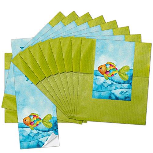 10 kleine grüne Papier-Tüten 9,5 x 14 cm + 10 blau türkise Regenbogen-Fisch SCHÖN DASS DU DA BIST Aufkleber 5 x 15 cm Verpackung give-away - Regenbogen-herz-tee