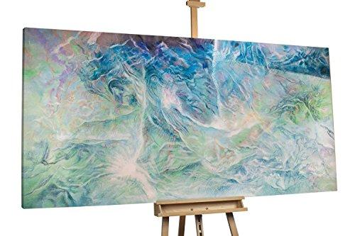 'Discovery' 200x100cm | Abstrakt Struktur Blau Weiß XXL | Modernes Kunst Ölbild