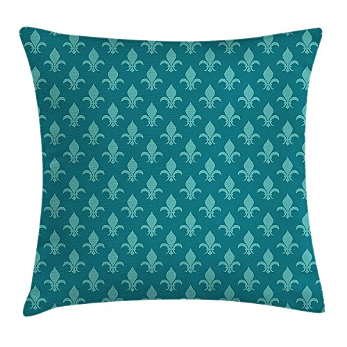 ZTLKFL Fleur de Lis Throw Pillow Cushion Cover, Classical Retro Style Victorian Damask Pattern with Arabesque Oriental Effects Image, Decorative Square Accent Pillow Case, 18 X 18 inches, Teal - Fleur De Lis Screen