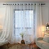 Naturer Gardinen Transparent mit ösen 225x140 Lang Krone Blumenmuster Kinderzimmer Voile Vorhänge mit Ösen Vorhänge Durchsichtig Gardinenschals mit Stickerei