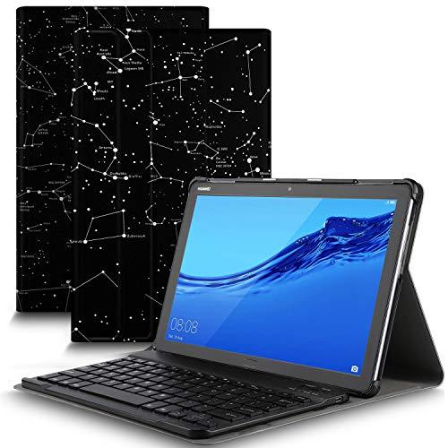 IVSO Tastatur Hülle für Huawei MediaPad M5 Lite 10, [QWERTZ Deutsches], Ultradünn Ständer Schutzhülle mit magnetisch abnehmbar Tastatur für Huawei MediaPad M5 Lite 10.1 2018, Ink Constellation