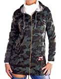 Damen Cardigan Sweat-Shirt Jacke Army Military Design Hüftlang mit Kapuze Camouflage Muster, Größe:M-Maße Beachten, Farbe:Grün