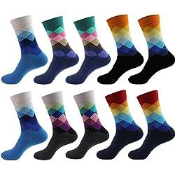 5 Pares Calcetines Medias Antideslizantes De Algodón Multicolor Para Hombre (2)