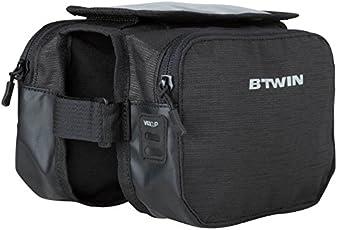 Btwin 500 Bike Double Frame Bag - 2l (115098, Black)