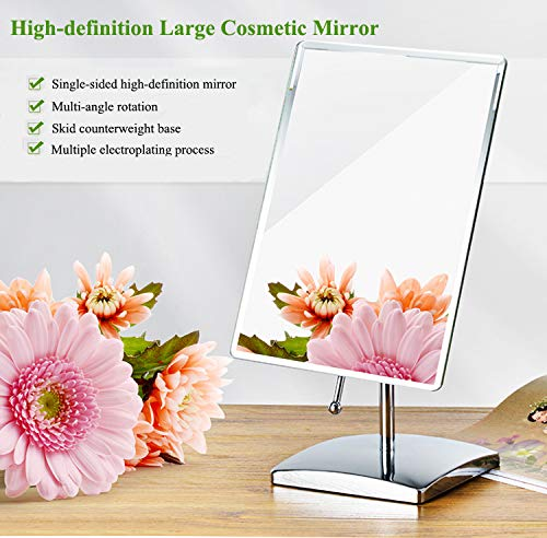 Freistehende Badezimmer-spiegel (Holaroses Spiegel, rechteckig, freistehend, für Kosmetika, Rasierer, Badezimmer, verstellbar, einseitig um 360 Grad vertikal und horizontal drehbar)