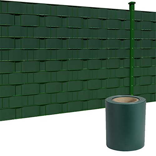 HENGMEI PVC Sichtschutzstreifen 35m x 19cm mit Befestigungsclipse Sichtschutzfolie Windschutz Stabmattenzaun Gartenzaun Blickdicht (35m x 19cm, Grün)