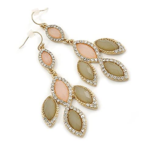Pale Pink/ Olive Glass Stone, Crystal Leaf Drop Earrings In Gold Tone - 70mm L