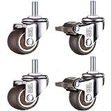 GBL® 4 Ruote Per Carrello 50mm M10, Rotelle per Mobili, Ruote Girevoli Gomma (50mm Thread)