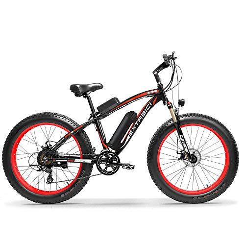 Cyrusher® Extrbici XF660 48V 500 vatios Negro Rojo Mens Bicicleta eléctrica Mountain Bike 7 velocidades Bicicleta eléctrica Frenos de Disco