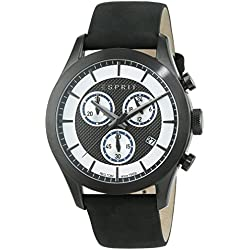 Esprit TP10841 Black Men's Quartz Watch with Silver Dial Analogue Display and Black Leather Strap ES108411002