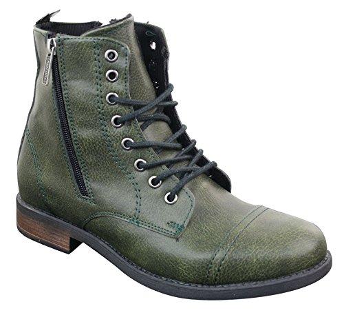Tamboga Bottines Homme Style Chic Décontracté Lacets et Zip Look Militaire Rendonnée Rétro Vintage Boots vert olive
