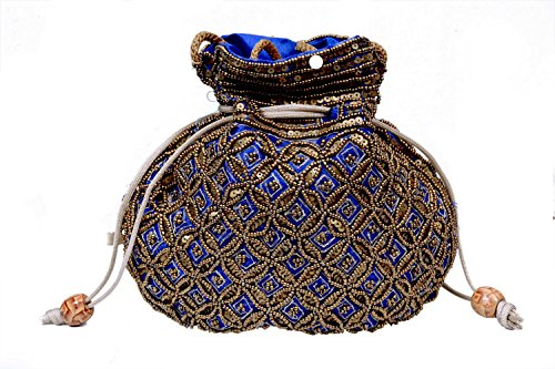 Craft Trade Handmade Blue Potli Bag for Girls