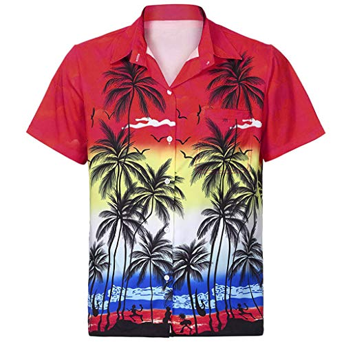 kolila Hawaiian Shirts Aloha Herren Damen Regular-fit Beach Camp Palm Tree Kurzarm Button Down Bluse Oberteile Oberteile mit Tasche
