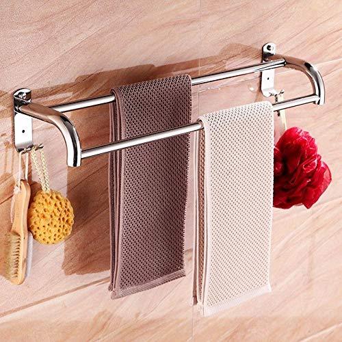 Porte-serviettes ventouse de salle de bains acier inoxydable simple poinçonnage libre double tringle de 60 cm (24 pouces) porte-serviettes