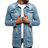 AMUSTER Herren Jacke Ripped Denim Jacket Herren Jeansjacke Sherpa Denim Jacket Herren Jeansjacke Biker Style Jeans Jacket Blue Denim Jacke Blau Vintage Distressed Jacket