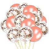 Alintor 36 Piezas Globos de Confeti Oro Rosa, 12 Pulgadas Globo de Látex de Oro Rosa, Ideal para Boda, Cumpleaños, Aniversario, Decoración Fiesta, Día De San Valentín (12 Globos de Confeti Oro Rosa & 24 Globos de Látex)