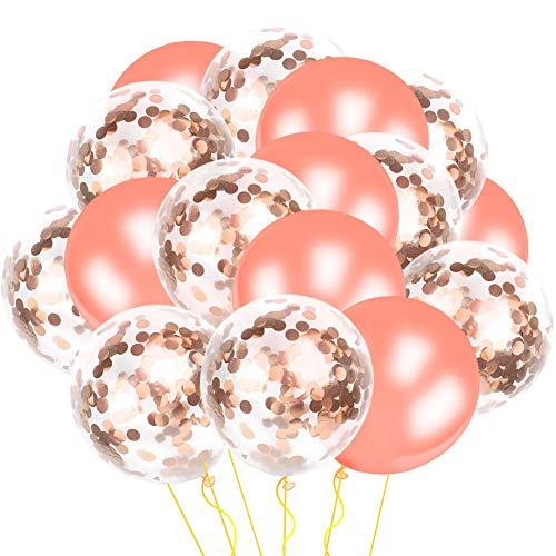 Alintor 36 Stück Rosé Gold Konfetti Ballons, 12'' Roségold Latex Konfetti Luftballons, Ideal für Geburtstagsfeier Hochzeit Party Valentinstag Jubiläumsparty Dekorationen ( 12 Stück Pre-Filled Konfetti Ballons & 24 Stück Latexballons )