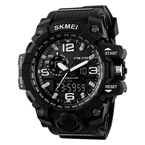 SKMEI Reloj Analógico y Digital con Diseño Deportivo para Hombre Reloj de  Pulsera con Alarma y 7afced3d8a3