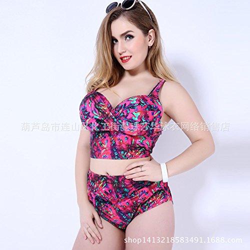 Mme summer maillot de bain grande taille haute européens et américains et de l'acier maillot bikini-YU&XIN Rose red