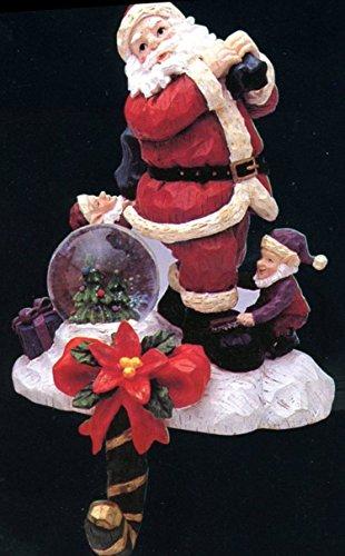 Sculptured Resin Snow Globes Santa mit Elf Helfer, Weihnachtsstrumpf mit Mini Snow Globe.-Mantel Home Decor aus detailreicher Kunstharz Stein, ca. 20,3cm Hohe