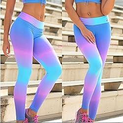 Honghu Leggings Leggins de Estrellas Estampados Push up Pantalones Elásticos Deportivos para Mujer Tamaño S Azul&Rosa