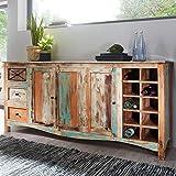 FineBuy Design Sideboard YEMA 193x90x45 cm Highboard mit 3 Schubladen und 3 Türen   XXL Massiv-Holz Kommode mit Flaschenregal   Kommodenschrank Shabby-Chic Bunt Modern