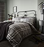 Catherine Lansfield Kelso Cotton Rich Single Duvet Set Charcoal