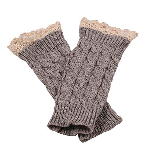 Sannysis Spitze Strick Fringe warme Handschuhe (Grau)