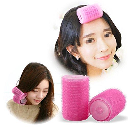 Preisvergleich Produktbild EQLEF® 4 Stücke Frauen DIY Haar Curling Tool rosa Kunststoff Lockenwickler Roller klein und groß