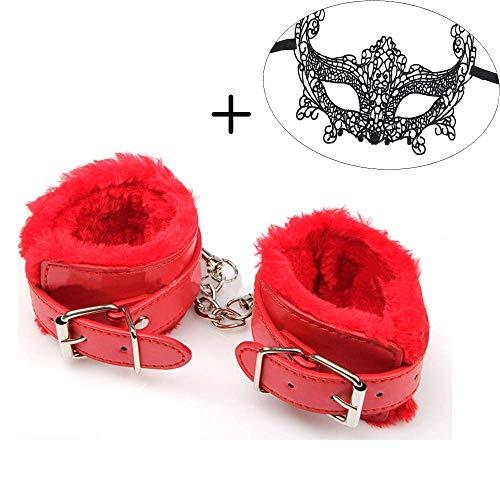 PU Leder Handschellen Fell-Handgelenk mit Spitze Maske für Männer Frauen Cosplay Kostüm Maskerade, Herren, rot, One-Size (Für Maskerade-masken Männer Rote)