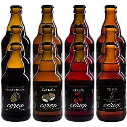 CEREX- Pack Degustación de 12 Botellas de Cerveza Artesana Gourmet de 33 cl.