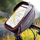 """IREGRO Borse Bici Bicicletta Borsa da Manubrio Porta Telefono per Bicicletta, Adatto per Il Telefono Mobile con Dimensione Inferiore a 5.8"""", Impermeabile Anteriore Telaio Borse"""