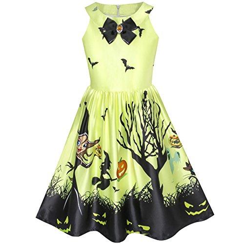 Mädchen Kleid Halloween Witch Schläger Kürbis Kostüm Halfter Kleiden Gr. 134