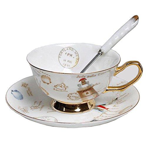 Porzellan Keramik Tee-Tasse Kaffeetasse, Leuchtturm, Segelboot, Stempel, Multicolor