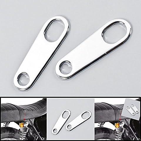 League & Co 2x Argent Moto clignotants Support de montage Support Support clignotants pour Harley Honda Yamaha Kawasaki