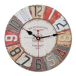 Soled orologio da parete in legno stile vintage movimento for Orologio legno amazon