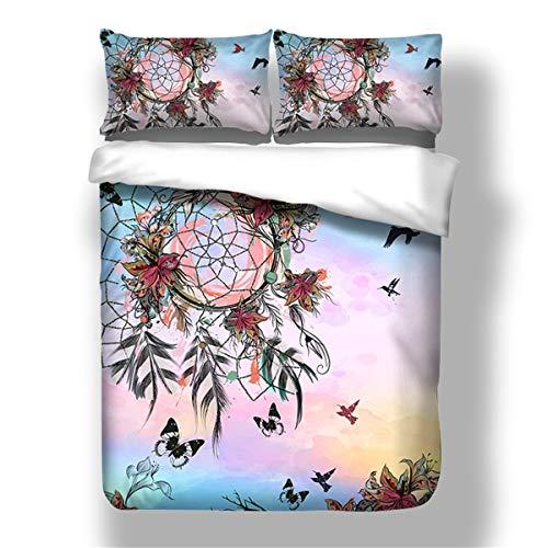 Guidear Regenbogen und Dream Weaver-Netz Bettbezug mit Kissenbezug Traumblumen und Vögel Bettwäscheset mit Reißverschluss Stil Bettbezug Doppel Größe 200cm * 200cm