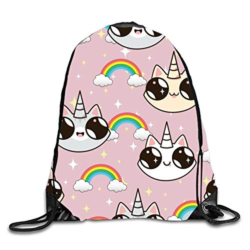 uykjuykj Tunnelzug Rucksäcke, Adorable Unicorn Sackpack Drawstring Backpack Waterproof Gymsack Daypack for Men Women Cats unicorns9 Lightweight Unique 17x14 IN Adorable Set Hose