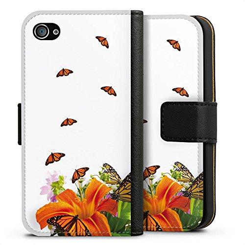 Apple iPhone X Silikon Hülle Case Schutzhülle Schmetterlinge Blume Lilie Sideflip Tasche schwarz
