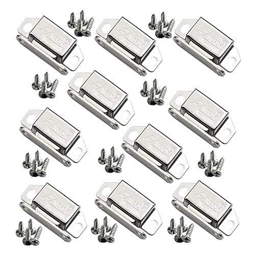 10 Stück Edelstahl Schrank Tür Magnetic Catch für Schrank Pflicht Magnet fängt Küche Verriegelung Kleine Home Möbel Bücherregal Schließfach (Mit Schrauben hinzugefügt) -