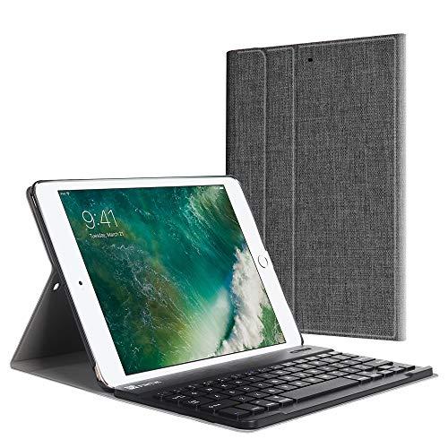 Fintie Tastatur Hülle für iPad 9.7 Zoll 2018 2017 / iPad Air 2 / iPad Air - Ultradünn leicht Keyboard Schutzhülle mit magnetisch Abnehmbarer drahtloser Deutscher Bluetooth Tastatur, Denim dunkelgrau - Mit Usb-anschluss Ipad-tastatur