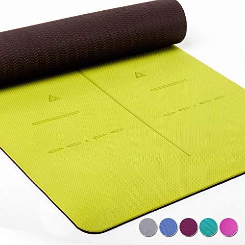 Heathyoga ® Estera de Yoga, Sistema de alineación único, de...