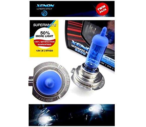 Juego de dos bombillas halógenas H7 (55 W, 12 V, 8500K, luz súper blanca, efecto xenón, con marca de control y marca de homologación internacional, para luz de cruce, luz larga y antiniebla