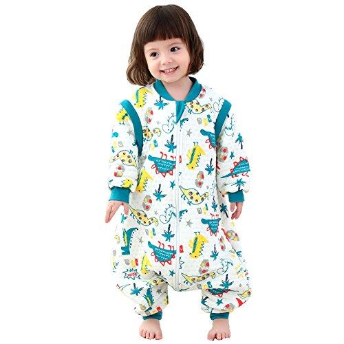 Gemini Fairy Baby Schlafsack mit Füßen und Langarm Schlafanzug Baumwolle Mit reizendem Dinosaurier-Cartoon-Entwurf (L, Blau)
