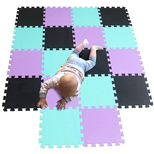 Eva Schaum Puzzlespiel Fliesen Schutz Matten weicher Schaum der KinderSpiel Matten für Turnhalle Spielbereich Übung Yoga schwarzes Grün-Purpur 104108111 ()