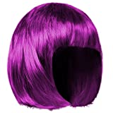shenky - Peluca para Mujer - Ideal para Carnaval - Pelo Corto Estilo Bob - Morado/Violeta
