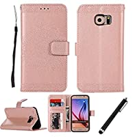Samsung Galaxy S6 Case,Samsung Galaxy S6 Wallet Case,Beddouuk Vintage Flower Pattern PU Leather Wallet Case with Magnet Closure and Card Slots Holster,Book Style Design Protective Folder Case Cover for Samsung Galaxy S6(Rose Gold,Totem)